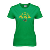 Ladies Kelly Green T Shirt-Soccer Ball on Top