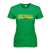 Ladies Kelly Green T Shirt-Softball Line