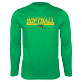 Performance Kelly Green Longsleeve Shirt-Softball Line