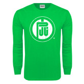 Kelly Green Long Sleeve T Shirt-Primary Mark Distressed