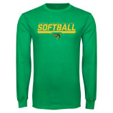 Kelly Green Long Sleeve T Shirt-Softball Line