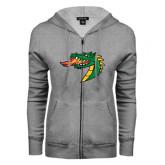 ENZA Ladies Grey Fleece Full Zip Hoodie-Dragon Head