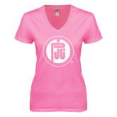 Next Level Ladies Junior Fit Deep V Pink Tee-Primary Mark