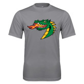 Performance Grey Concrete Tee-Dragon Head