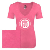Next Level Ladies Vintage Pink Tri Blend V-Neck Tee-Primary Mark