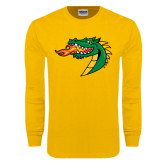 Gold Long Sleeve T Shirt-Dragon Head