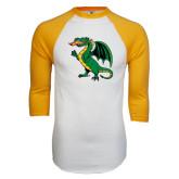 White/Gold Raglan Baseball T-Shirt-Secondary Mark
