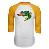 White/Gold Raglan Baseball T-Shirt-Dragon Head