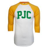 White/Gold Raglan Baseball T-Shirt-PJC