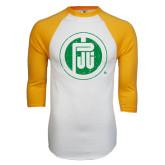 White/Gold Raglan Baseball T-Shirt-Primary Mark Distressed