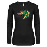 Ladies Black Long Sleeve V Neck T Shirt-Dragon Head