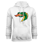 White Fleece Hoodie-Dragon Head