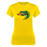 Ladies Syntrel Performance Gold Tee-Dragon Head