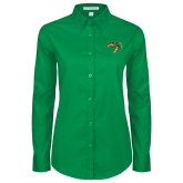 Ladies Kelly Green Twill Button Down Long Sleeve-Dragon Head