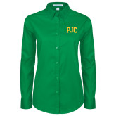 Ladies Kelly Green Twill Button Down Long Sleeve-PJC