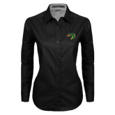 Ladies Black Twill Button Down Long Sleeve-Dragon Head