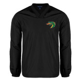 V Neck Black Raglan Windshirt-Dragon Head