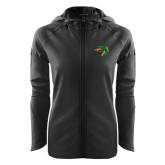 Ladies Tech Fleece Full Zip Black Hooded Jacket-Dragon Head