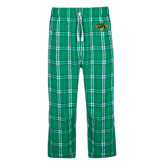 Green/White Flannel Pajama Pant-Dragon Head