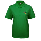 Ladies Easycare Kelly Green Pique Polo-Dragon Head