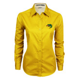 Ladies Gold Twill Button Down Long Sleeve-Dragon Head