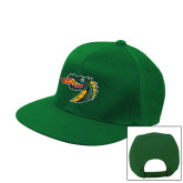 Kelly Green Flat Bill Snapback Hat-Dragon Head