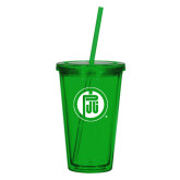 Madison Double Wall Green Tumbler w/Straw 16oz-Primary Mark