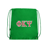 Kelly Green Drawstring Backpack-Greek Letters
