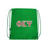 Kelly Green Drawstring Backpack-Greek Letters