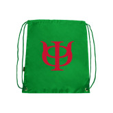 Kelly Green Drawstring Backpack-Interlocking Greek Letters