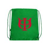 Kelly Green Drawstring Backpack-Interlocking Greek Letters