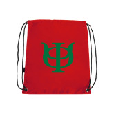 Red Drawstring Backpack-Interlocking Greek Letters