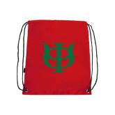 Red Drawstring Backpack-Interlocking Greek Letters