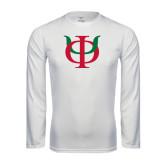 Performance White Longsleeve Shirt-Interlocking Greek Letters