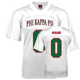 Replica White Adult Football Jersey-Arched Phi Kappa Psi, Personalized w/ Name and Number