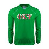 Colorblock V Neck Kelly/White Raglan Windshirt-Greek Letters