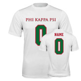 Performance White Tee-PHI KAPPA PSI, Personalized w/ Name and Number