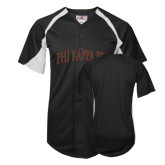 Replica Black Adult Baseball Jersey-Arched Phi Kappa Psi