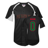 Replica Black Adult Baseball Jersey-Arched Phi Kappa Psi, Personalized w/ Name and Number