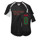 Replica Black Adult Baseball Jersey-Greek Letters, Personalized w/ Name and Number