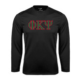 Performance Black Longsleeve Shirt-Greek Letters
