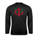 Performance Black Longsleeve Shirt-Interlocking Greek Letters