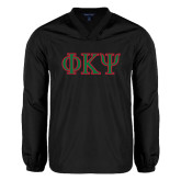 V Neck Black Raglan Windshirt-Greek Letters