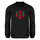 V Neck Black Raglan Windshirt-Interlocking Greek Letters