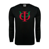 Black Long Sleeve TShirt-Interlocking Greek Letters