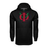 Under Armour Black Performance Sweats Team Hoodie-Interlocking Greek Letters