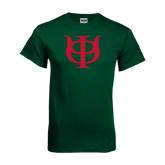 Dark Green T Shirt-Interlocking Greek Letters