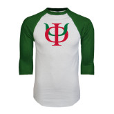 White/Dark Green Raglan Baseball T-Shirt-Interlocking Greek Letters