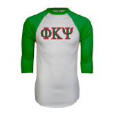 White/Kelly Green Raglan Baseball T Shirt-Greek Letters