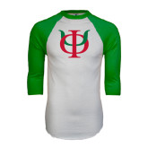 White/Kelly Green Raglan Baseball T Shirt-Interlocking Greek Letters